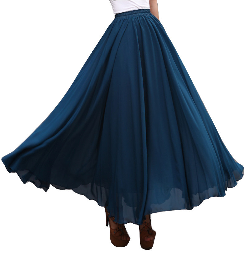LONG CHIFFON SKIRT Teal Blue Chiffon Skirt High Waisted Wedding Chiffon Skirt