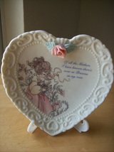 """1994 Precious Moments Heart Shaped """"Mother"""" Plate with Stand  - $15.00"""