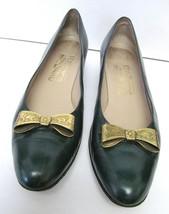 Salvatore Ferragamo Shoes Saks 5th Ave Gold Tone Bow Italy 9.5 Aaaa Vtg Rare - $39.95