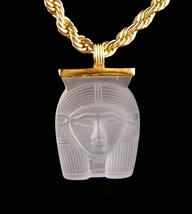 """Vintage Cleopatra necklace - fine silver - 20"""" chain - Egyptian signed p... - $165.00"""