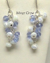 Light Purple and White Opalescent Crystal Cluster Dangle Earrings - $15.99