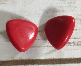 VINTAGE RED  TRIANGLE PLASTIC EARRINGS PIerced - $3.91