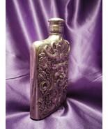 1983 Godinger Silver Plate Bacchus Illustrated Design Flask - $34.65