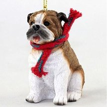 Bulldog with Scarf Christmas Ornament (Large 3 inch version) Dog - $15.95
