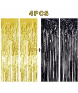 4pk NEW YEARS EVE Gold Black Foil Fringe Curtains Party Backdrop Decorat... - €9,24 EUR