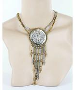 """VTG Goldette Huge Nouveau Gold Silver Maiden Relief Fringe Pendant Necklace 17"""" - $125.99"""