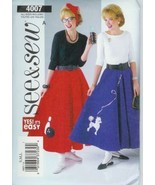 Skirt Petticoat Poodle Bowling Appliques See and Sew 4007 Misses S M L S... - $3.93