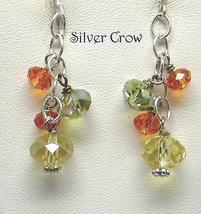 Crystal Cluster Earrings in Orange, Lime Green and Citrine Yellow - $12.99