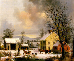 Winter In The Country 1857 American Rural Life Snow By George Henry Durrie Repro - $10.96+