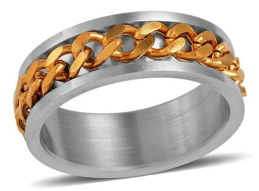 Men's Gents Stainless Steel and Gold Spinner Ring  size 12  Spinner FATHER'S DAY