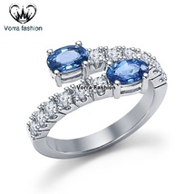 Bypass Engagement Ring In Oval Shape Blue Sapphire White Gold Plated 925... - ₨5,651.10 INR