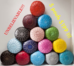 5 MOROCCAN POUF Unbelievable!!! Ottomans,Footstool, hassock, Genuine Leather,100 - $249.00
