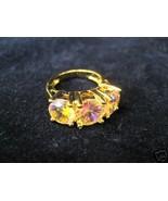 Technibond Aurora Borealis 3 Stone Ring Size 4 - $59.97