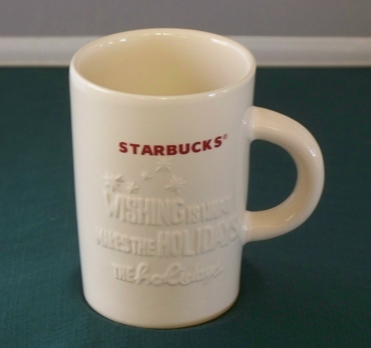 Starbucks 10 Oz Red On White Holiday Mug VGC