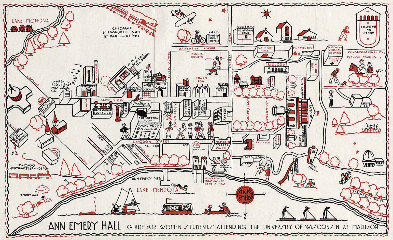 Wabash College Campus Map.11 X18 University Of Wisconsin Madison 1927 And 50 Similar Items