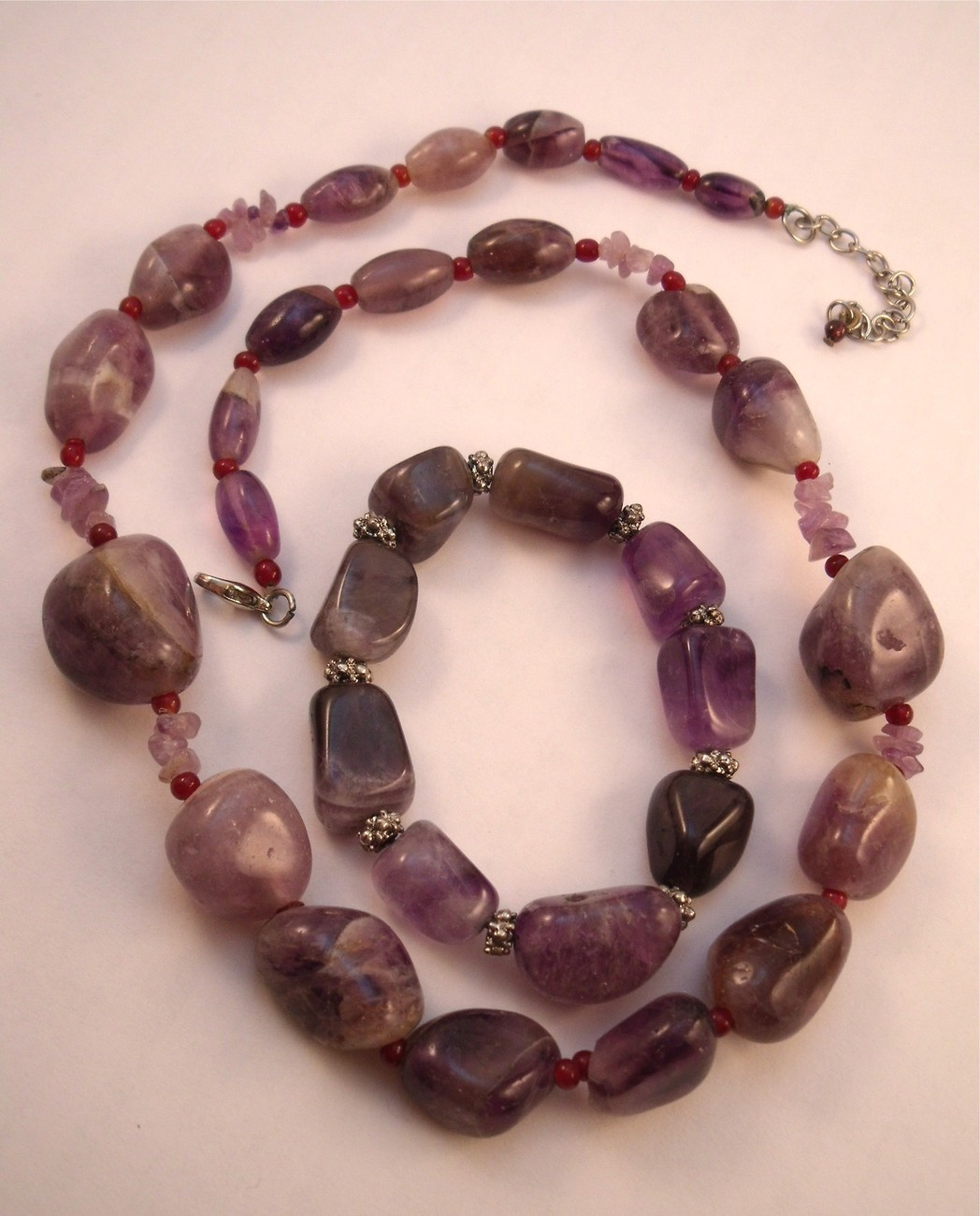 Primary image for Amethyst pebble necklace and bracelet
