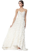 NWT Alice+Olivia White Crystal & Faux Feather Ball, Prom or Wedding Gown... - $549.45