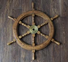 Wooden Nautical Ship Steering Wheel Pirate Decor Wood Brass Fishing Wall... - $113.05