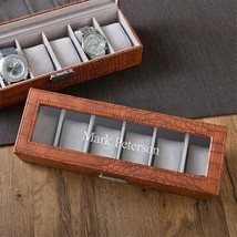 Engraved Brown Crocodile Watch Box Engraved Mens Gifts Personalized Gifts - $52.86