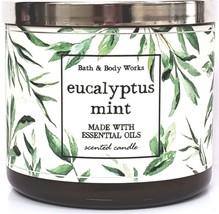 Bath and Body Works Eucalyptus Mint 3 Wick Candle Essential Oil in Amber... - $23.27