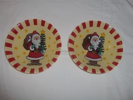 """~NEW~SET of 2~Santa Claus w/Bag Stars~6 1/2"""" Glass~Cookies~Candy~Serving... - $3.88"""