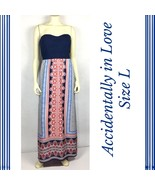 Accidentally in Love Womens Dress Size L Patriotic Maxi Red Blue Cutout ... - $34.99
