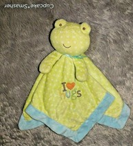 Just One Year Carter's Blue Green Frog Rattle Security Blanket Lovey Soo... - $10.70