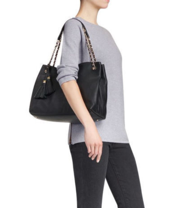 Tory Burch Thea Chain Shoulder Slouchy Tote Black Color for Woman with Free Gift
