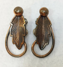 Leaf Clip On Earrings Copper Metal Pair Vintage Loop Design Oak Leaves - $10.88