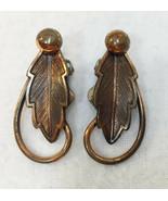 Leaf Clip On Earrings Copper Metal Pair Vintage Loop Design Oak Leaves - $10.88