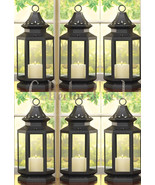 Set of 6 Large Black Clear Glass Stagecoach Candle Lanterns Wedding Cent... - $161.89