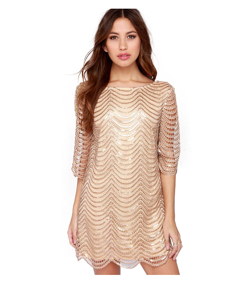 Women Gold Sequins Sleeveless Bodycon Evening Cocktail Party Mini Dress