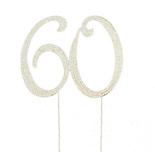 60th Birthday Crystal Rhinestone Cake Topper 60 Birthday Party Monogram USA - $26.74