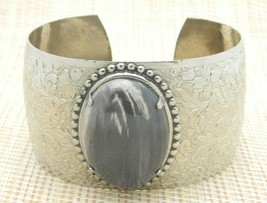 White Gray Agate Oval Stone Silver Tone Adjustable Bangle Cuff Bracelet ... - $25.24
