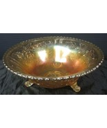 Vintage Imperial Marigold Carnival Glass Open Rose Footed Bowl - $11.87