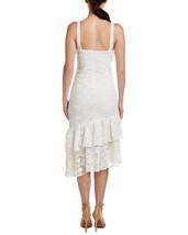 Just Me Women White Asymmetric Hem Lace Shift Dress image 2