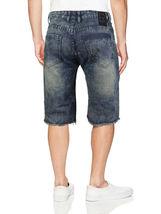 LR Scoop Men's Moto Quilted Distressed Painted Skinny Slim Fit Jean Denim Shorts image 9