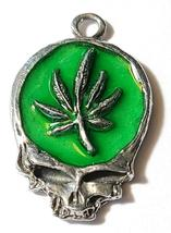 MARIJUANA LEAF SKULL Fine Pewter Pendant Approx. 1-1/2 inches wide image 8