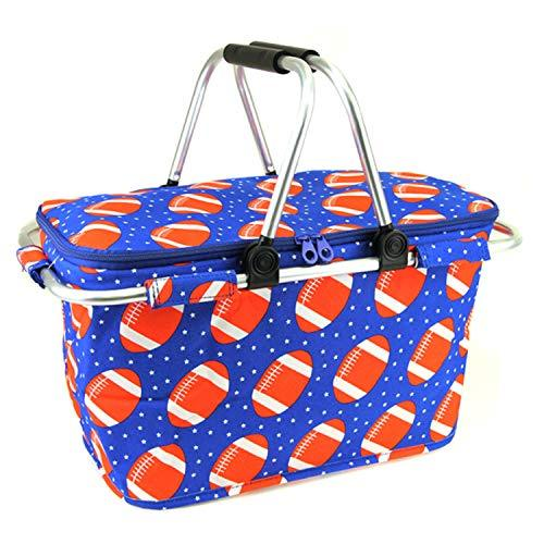 scarlettsbags Football Print Metal Frame Insulated Market Tote Blue