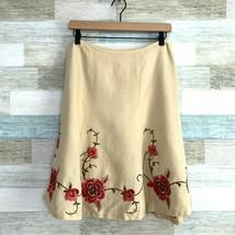LOFT Linen Floral Embroidered Flare Midi Skirt Beige Pink Lined Vintage ... - $23.40