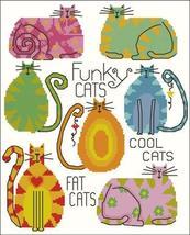 Funky Fat Cats cross stitch chart Pinoy Stitch - $9.00