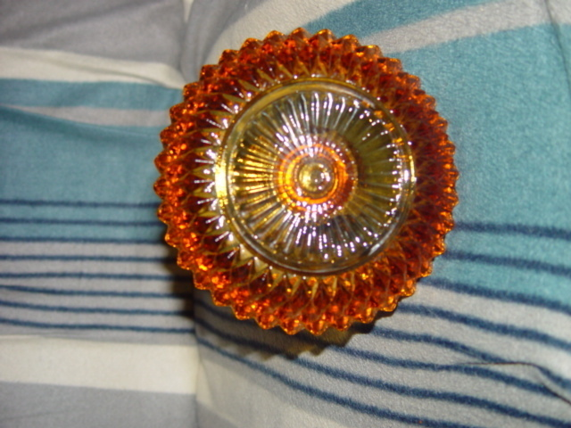 Amber Crystal Cut Like Glass Candler Holder