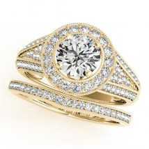 Womens Wedding Diamond Bridal Halo Ring Set 14k Yellow Gold Over 925 Real Silver - $94.99