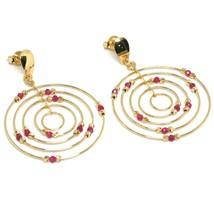Drop Earrings Yellow Gold 750 18K, Circles Set, Tourmaline, Red Balls image 2