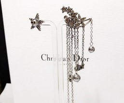 AUTHENTIC Christian Dior STAR CD LOGO CHARM Multi Chain Long Dangle Earrings image 8
