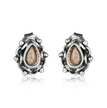 Oxidized 925 Sterling Silver Pink Tourmaline Gemstone Stud Earrings Jewelry - $20.79