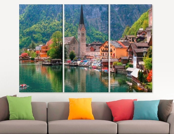 Primary image for Austrian Lake Canvas Print Austria Photo Austrian Wall Art Austria Canvas Art Au