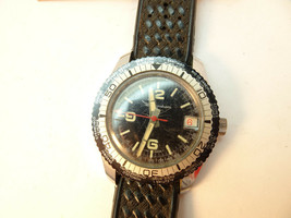 1970'S  INGRAHAM WORLD TIME BEZEL DIVER WATCH WITH DATE FOR RESTORATION ... - $125.00