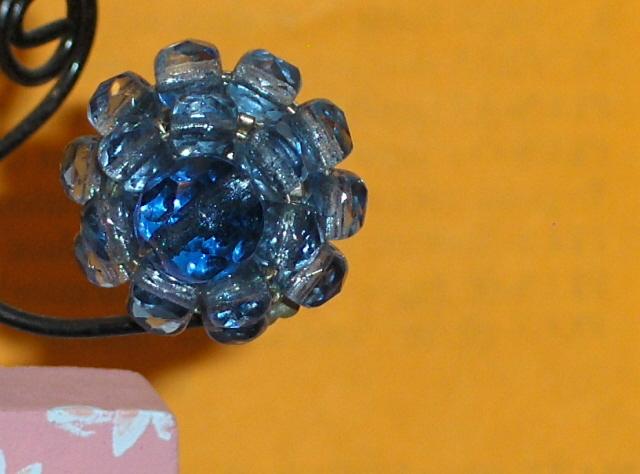 Vintage Blue Bead Clip On Earrings