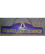 Black Hat Society Gothic Halloween Metal Sign New - $9.99